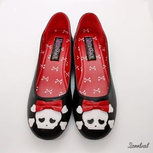 Funtasma Skull & Red Bow Black Flats